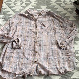Free People Break My Stripe Plaid Shirt